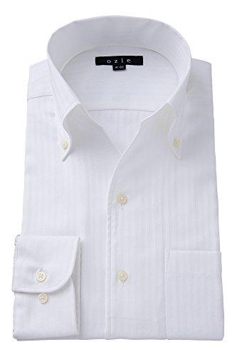 (オジエ) ozie【ワイシャツ・カッターシャツ】長袖・細身スリムタイトフィット・プレミアムコットン超長綿スーピマ綿・綿100%形態安定・スキッパー(第一ボタン無し)・イタリアンカラー・ボタンダウン・織柄無地 ホワイト白シャツ