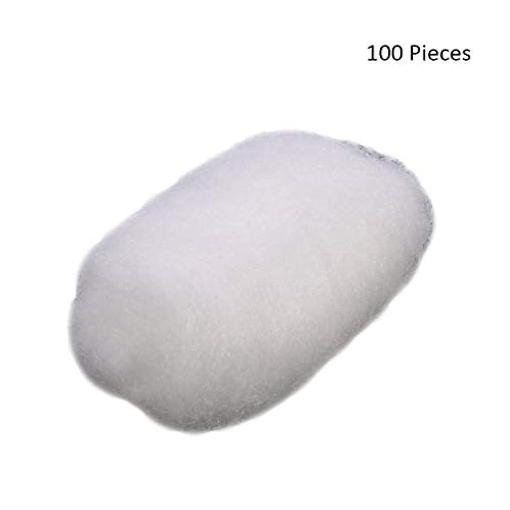 ずるい蓋サドル100ピース/バッグフェイスメイクアップリムーバーコットンボールタトゥー消毒メイククレンジングローション化粧品除去コットンボール (Color : White)