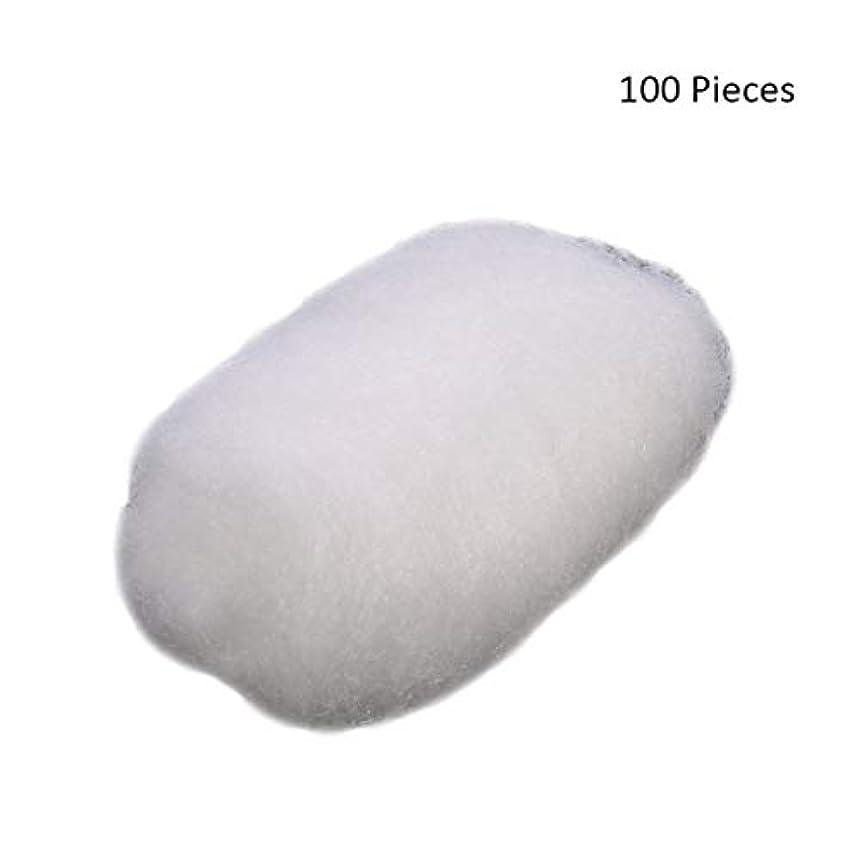 ハードリング抑圧六100ピース/バッグフェイスメイクアップリムーバーコットンボールタトゥー消毒メイククレンジングローション化粧品除去コットンボール (Color : White)