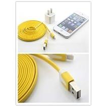 (I-Accessary)(商品 )(全4色)(カラー豊富)iphone5 ipad4&ipad mini対応ライトニングUSBケーブル USB充電&データ通信 ラーメンみたい形 長いケーブル 3メートル 充電&データ転送機能 耐久性 持ち運び便利 lighting cable for iphone5 ipad4&ipad mini (イエロー) yellow