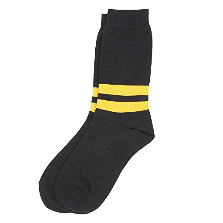 何でも気味の悪いモンスターDeol(デオル) ラインソックス 男性用 メンズ [足のニオイ対策] 長期間持続 日本製 無地 靴下 黒 25cm-27cm