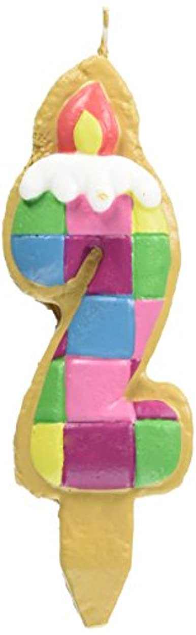 パスポートハム勢いクッキーナンバーキャンドル 2番 ブロック ケーキ用 56280020