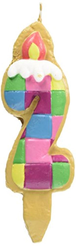 バスケットボール動かない幾何学クッキーナンバーキャンドル 2番 ブロック ケーキ用 56280020