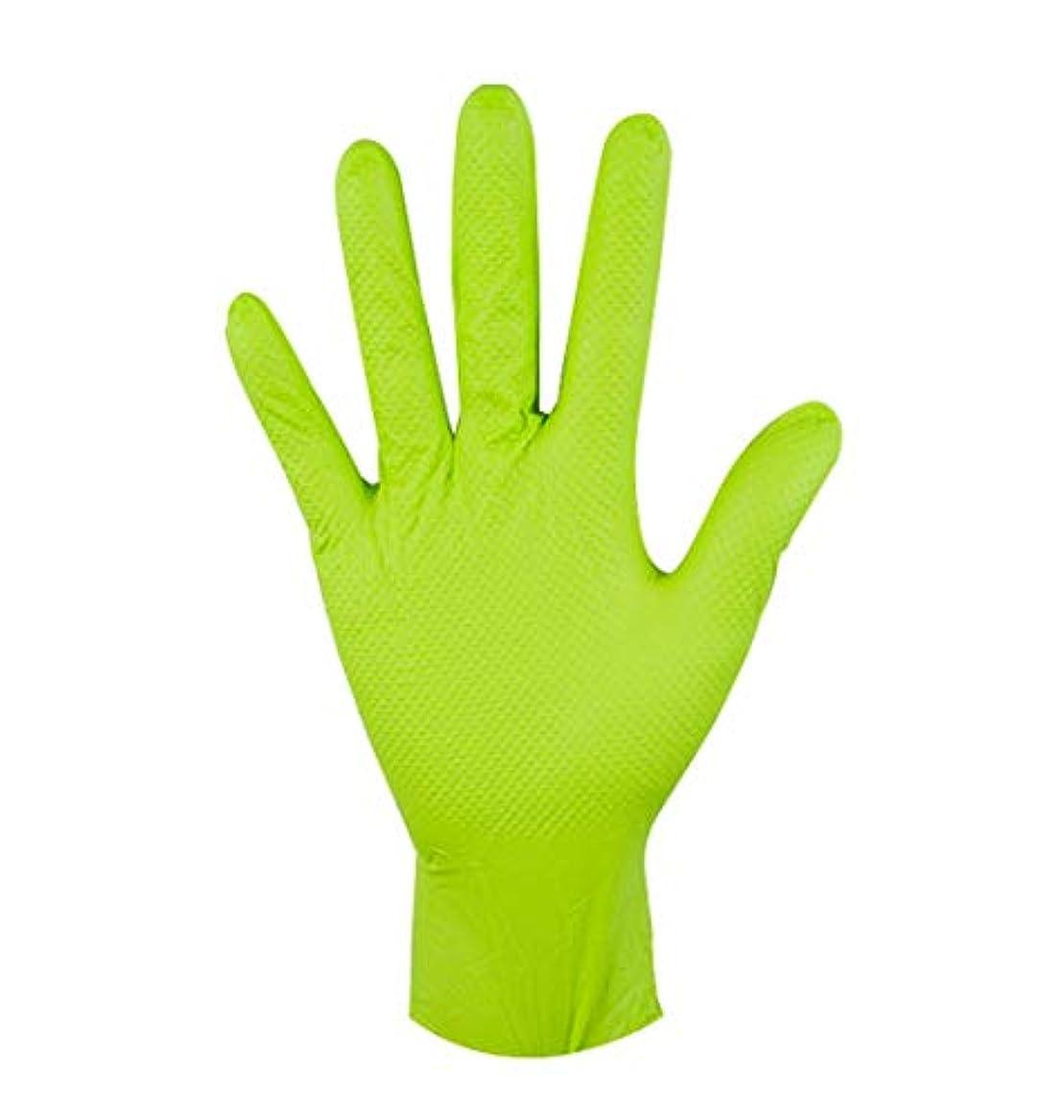 挑むで泥だらけ使い捨て手袋極太ニトリルグリーン耐油機修理自動修理家事保護手袋