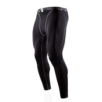 sillictor スポーツタイツ メンズ パワーストレッチ ロング アンダーウェア コンプレッション タイツ [UVカット + 吸汗速乾] ブラック