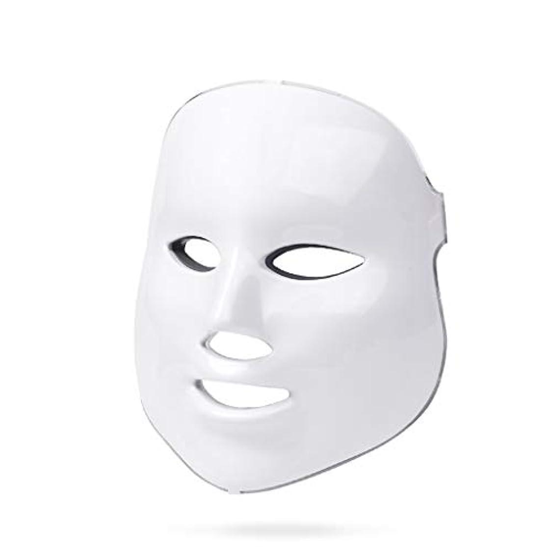 濃度促進する赤字ライトセラピー?マスク、ライトセラピーは調色、しわ、アクネホワイトニングマスクフェイシャルマスクセラピー7色のアンチエイジングスキンケアライトセラピーにきびを率いにきび治療をマスク (Color : White)