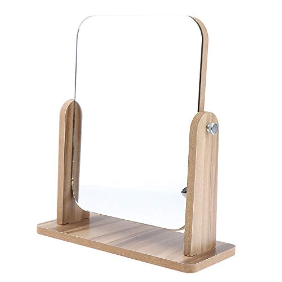 IPOTCH メイクミラー レトロ 美容ミラー 卓上ミラー 木製ベース 2サイズ選べ - 22x17 cm