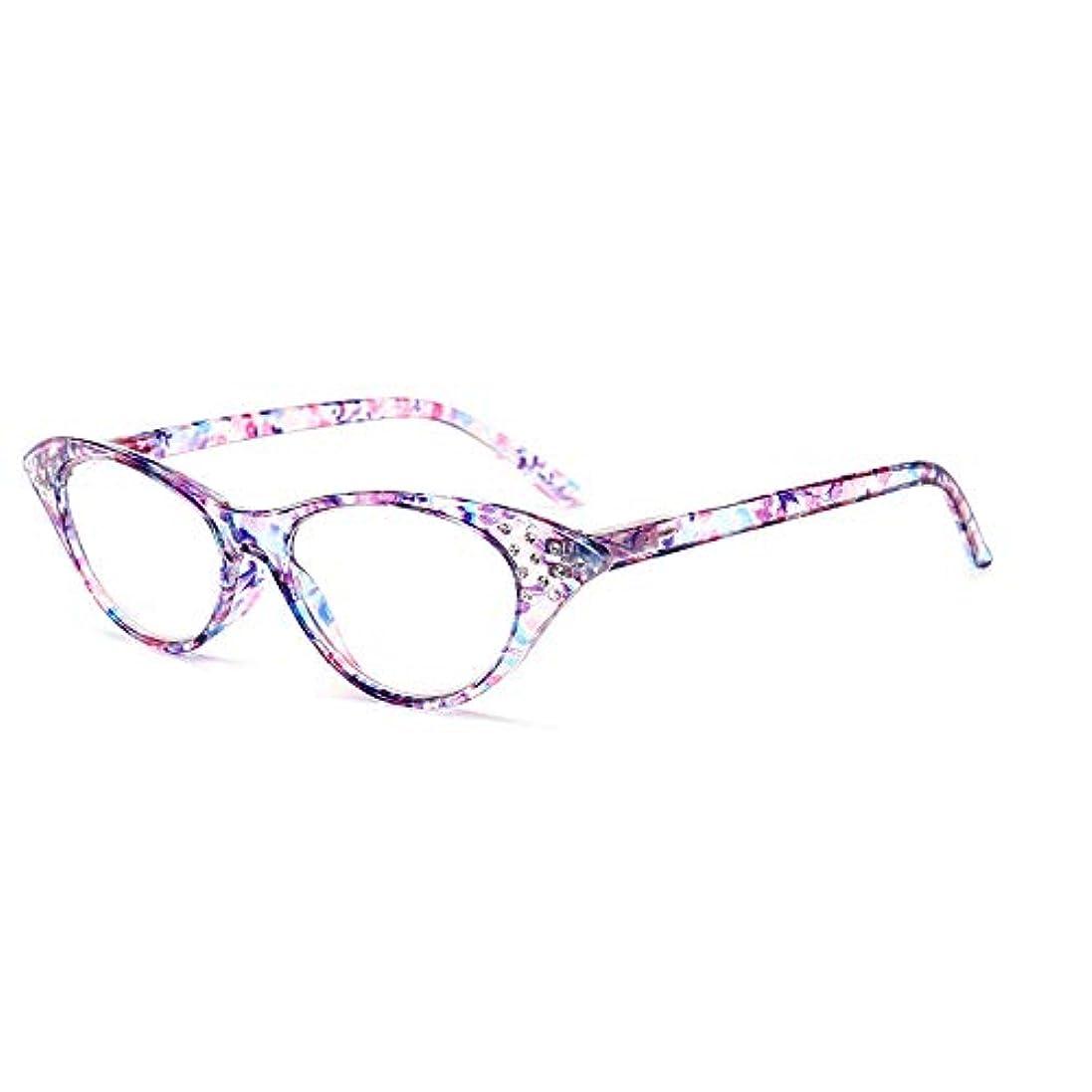素晴らしい普通の襲撃男性と女性のためのファッション猫メガネフレーム老眼鏡HD疲労防止,紫色,+2.5