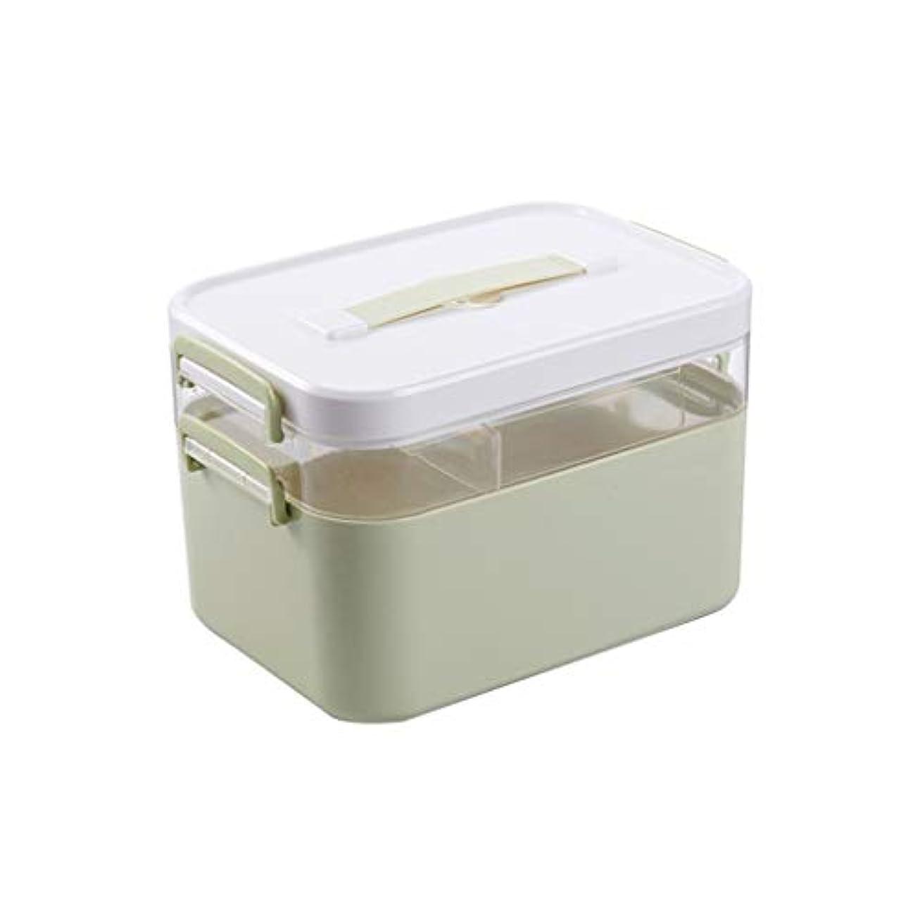 洗練された幻想透ける薬箱ポータブル多機能薬収納ボックス大容量ポータブルデザイントップ透明簡単観察する SYFO (Color : Green, Size : 28.5×19.5×18.5cm)