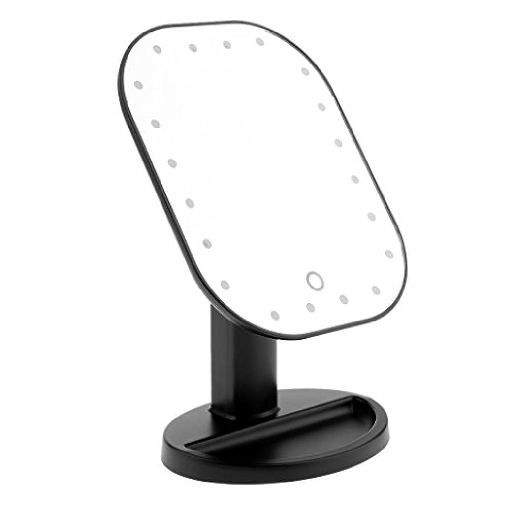 高度呼吸する罪悪感LEDメイクミラー LED化粧鏡 メイクミラー LED女優ミラー 卓上スタンドミラー 180°回転 明るさ調整可 バッテリー式 全3色選べる - ブラック