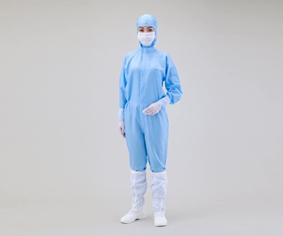 にやにや擁するささいなアズワン 無塵衣AS197C フード付 青