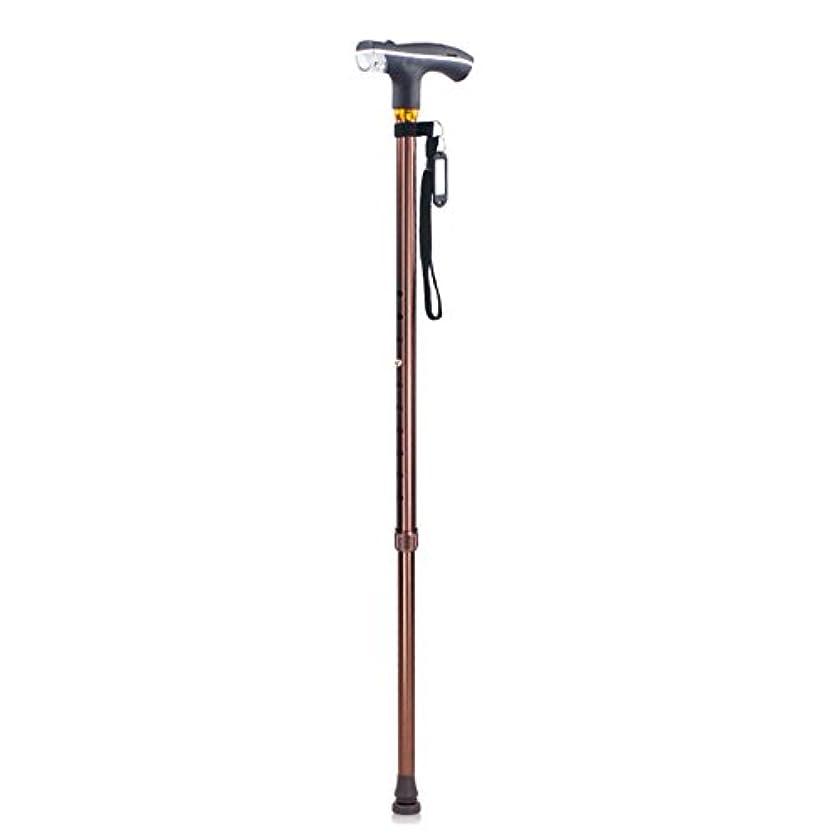 対称視線断言するLEDライトクラッチ付きアルミ合金一脚調節可能な杖高齢者ライトウォーカー,Brown