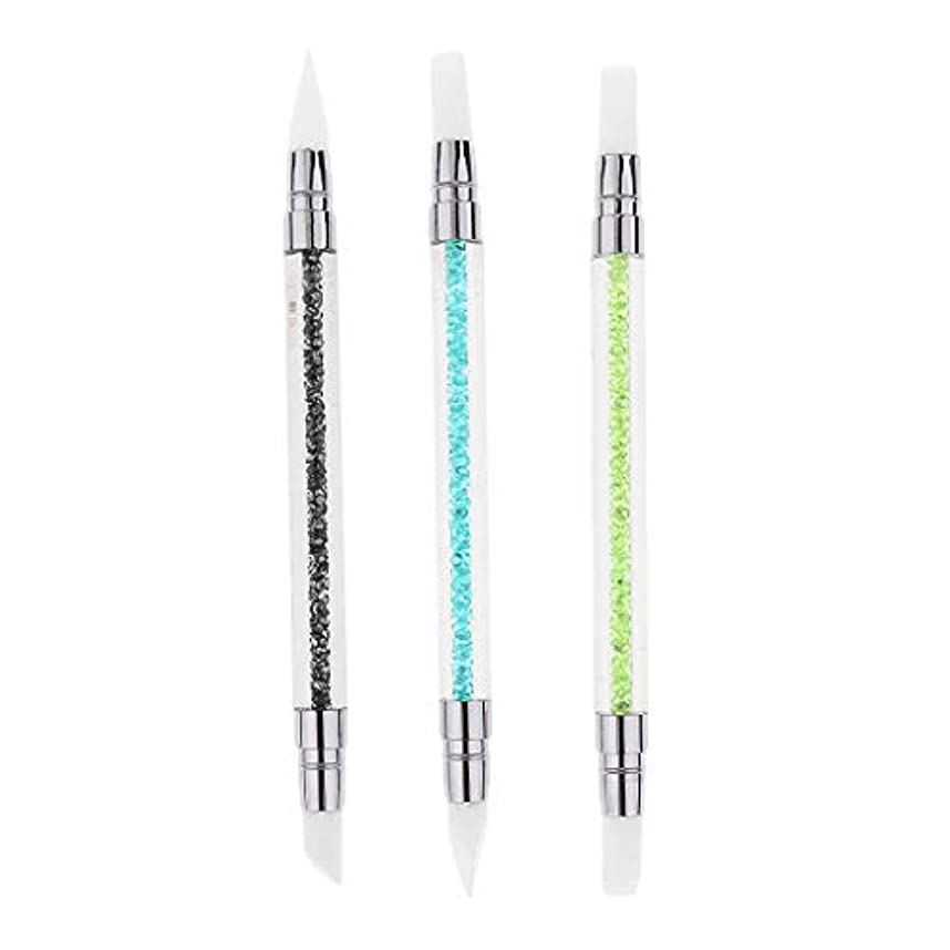 参加する冷える邪魔する2本/3本セット ネイルアート ブラシ 爪用ペン シリコン ドットツール クラフト 2way 爪絵画ツール - 3本セット