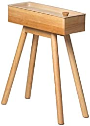 Tray-Top Small Side Table with Storage, Nordic/Japanese Minimal Wooden Style (Natural Ivory)