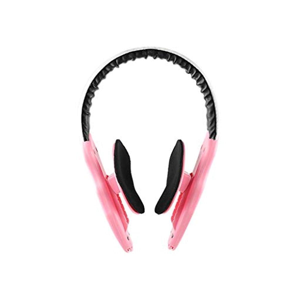 賢明な霧ぬれたLJK フェイスリフトマスク、フェイスブレース、非対称フェイスマッセターマッスル、フェイシャルラインの強化、フェイシャルファットの改善、男性に最適 (Color : Pink)