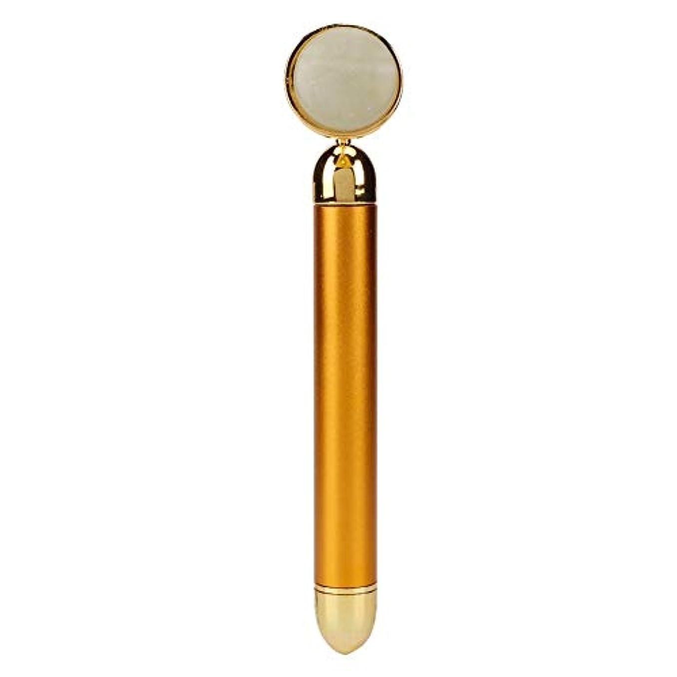 クール非互換ペグ美容マッサージスティック24Kゴールドグリーンジェイドマッサージャー3Dローラーフェイスリフティングアームマイクロノーズヘッドスキンタイトニングツール用電気マイクロ振動ビューティーバーインスツルメント
