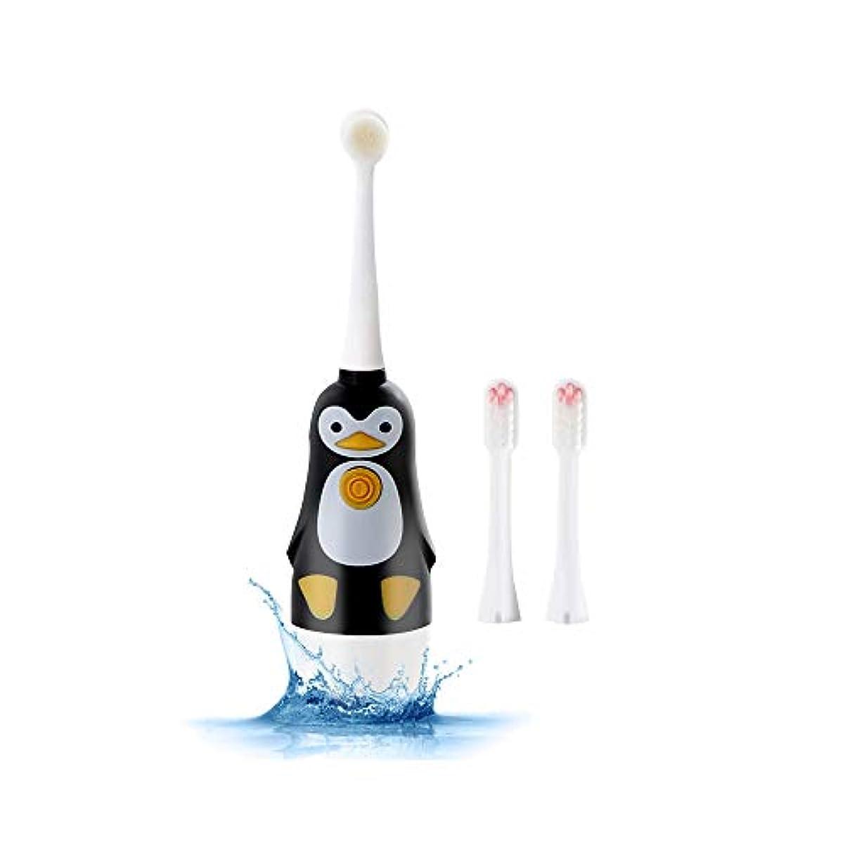 普及統計的うまくやる()MTao 子供用電動歯ブラシ 子ども用歯ブラシ 防水 音波歯ブラシ 替えブラシ2本 可愛いデザイン ポータブル 1回充電30日用 振動18000回/分 乾電池式(電池なし) 丈夫 3-12歳に適用 やわらかめ (ブラック)