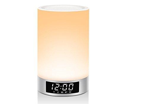 MIMIU ベッドサイドランプ 目覚まし時計 Bluetoothスピーカー 【22時間連続再生 / 内蔵マイク搭載 / micro SDカード 】