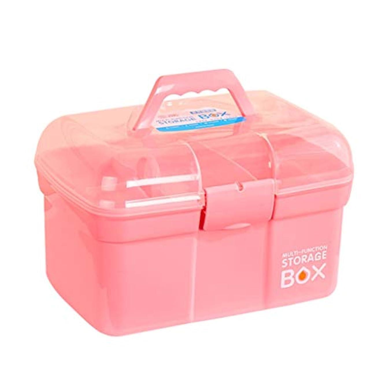 保守可能警告する減衰TXOZ 薬箱ホーム家族収納ボックス家医療ボックスフル応急処置キットかわいいスタンディング医学多層医療キット (Color : Pink, Size : 31cm×20m×20cm)