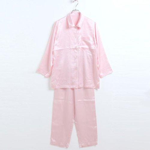 【Wacoal/ワコール】睡眠科学 シルク100% レディース シャツパジャマ(PI-ピンク、L)