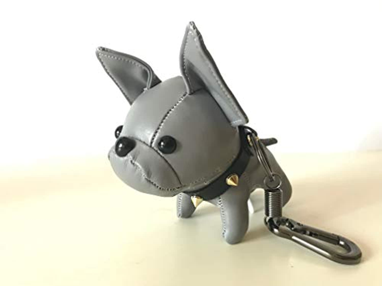 フレンチブルドッグ 革 キーホルダー ブルドッグ 犬 キーリング バッグチャーム キーチェーン レザー バッグアクセサリー (グレー)