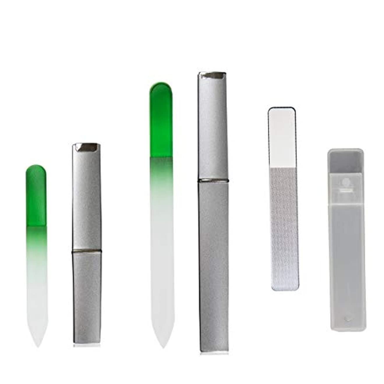 クリープ横に受け入れるガラス製ネイルケアセット爪やすり 爪磨き ネイル ケアセット、4点セット