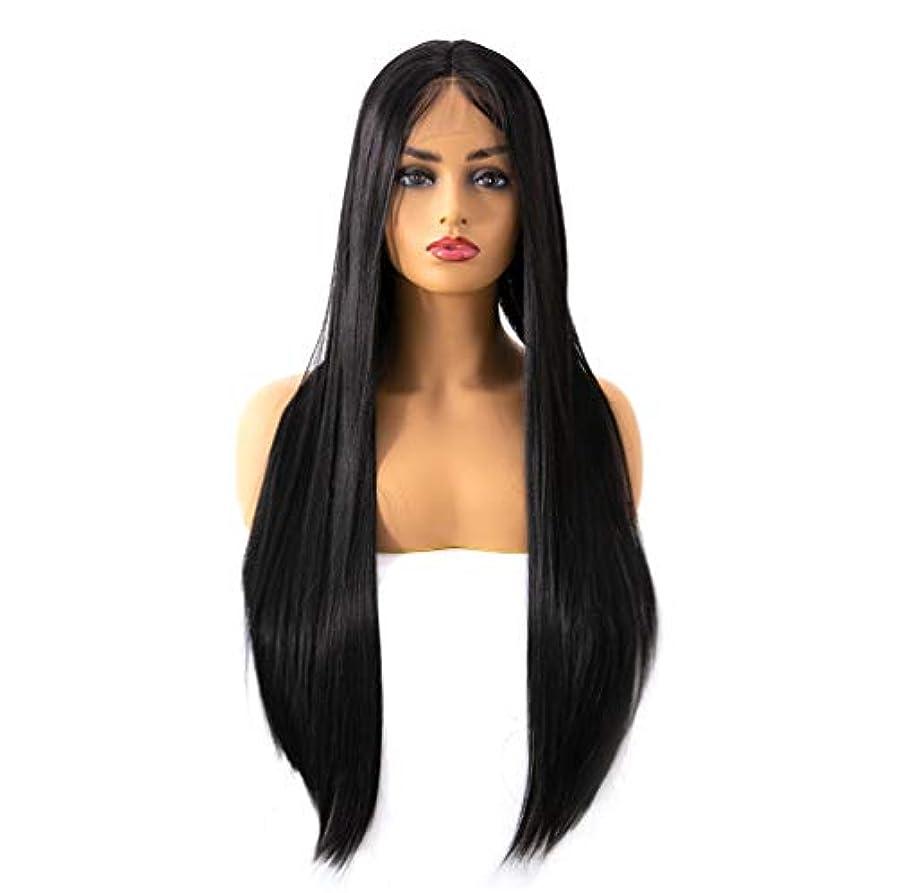 であること外国人成分女性のレースフロントの人間の毛髪のかつら150%密度合成ロングストレート耐熱かつら