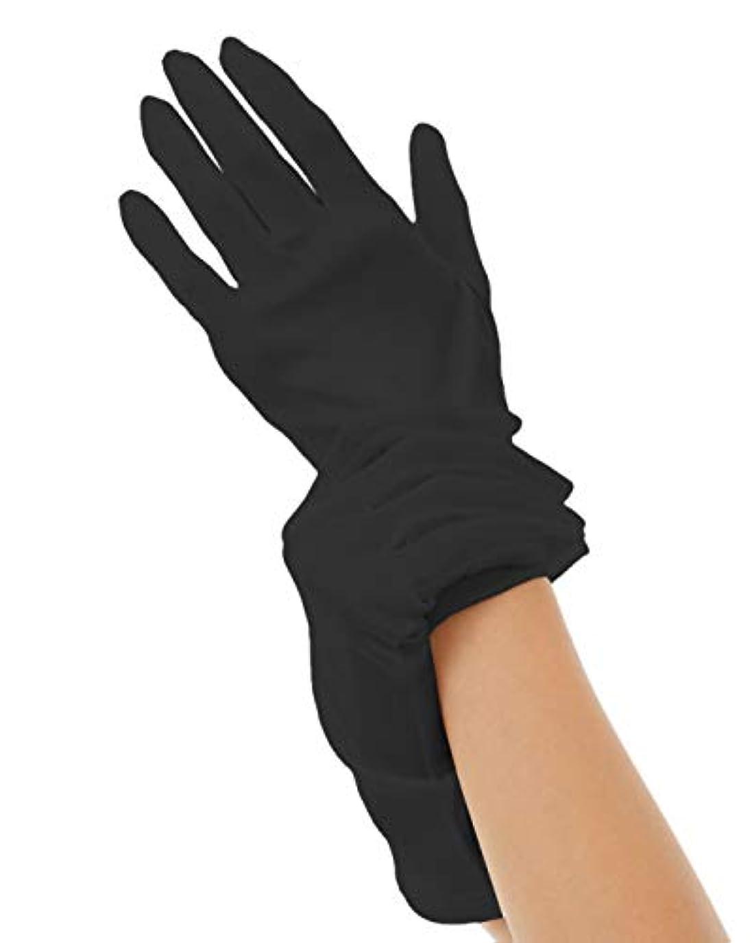 ハンドケア シルク 手袋 Silk 100% おやすみ スキンケア グローブ うるおい 保湿 ひび あかぎれ 保護 上質な天然素材 (M, ブラック)