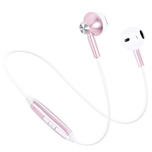 Bluetooth イヤホン 高音質 IPX4防水防汗 ノイズキャンセリング マグネット搭載 イヤフォン リモコン マイク付き ブルートゥース イヤホン Bluetooth4.1 ワイヤレス イヤホン iPhone Android対応 (ローズゴールド)