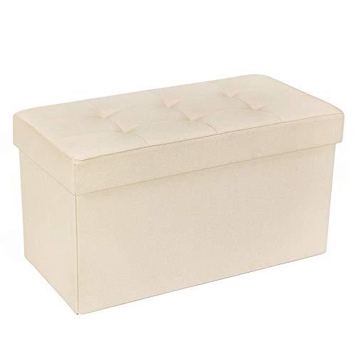 SONGMICS 収納スツール 収納ボックス オットマン 5cmクッション ドレッサーチェア 座る心地良い (ベージュ, 幅76cm)