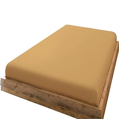 ボックスシーツ シングル マチ部分約35cm 綿100% ベッドシーツ 200本ブロード マットレスカバー 防ダニ 抗菌 BOXシーツ 濃いベージュ