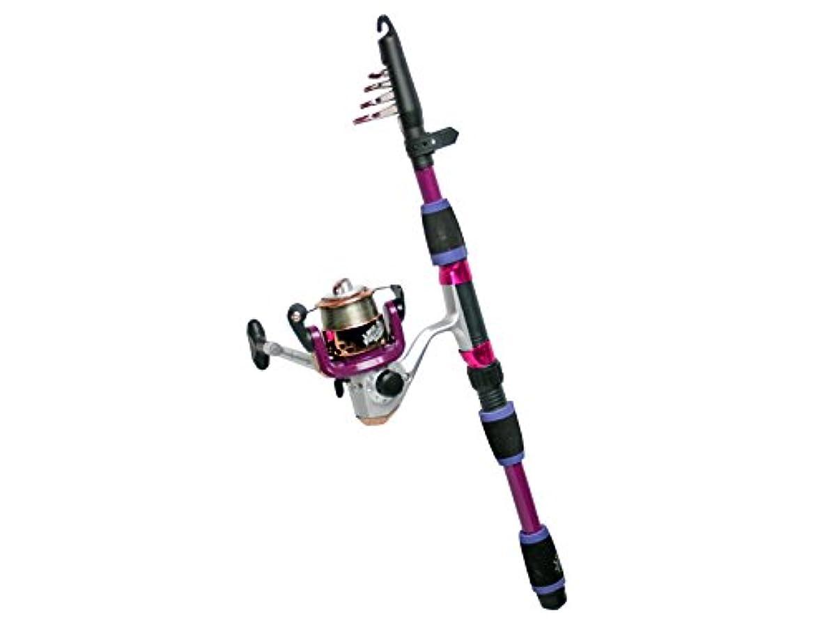 急行するペイン歌ロッド カラフルコンパクト165 リール+ロッドセット FIVE STAR 釣り具 (パープル)