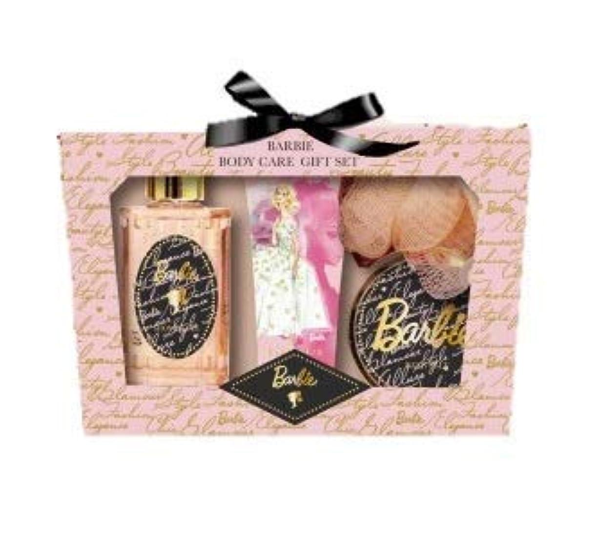上下する仮説チューリップヒューマンリンク Barbie (バービー) ボディケア ギフトセット (ローズ&ピオニーの香り) プレゼント [ハンドクリーム/シャワージェル/バスソルト/スポンジ] 入浴剤 バススポンジ ボディソープ