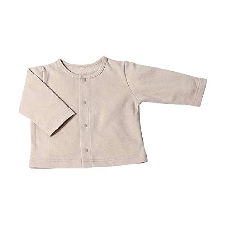 ベビーカーディガン OP-mini (長袖/丸襟) 赤ちゃん はおりもの ベージュ [防寒?冷房対策] シンプル 70-80cm
