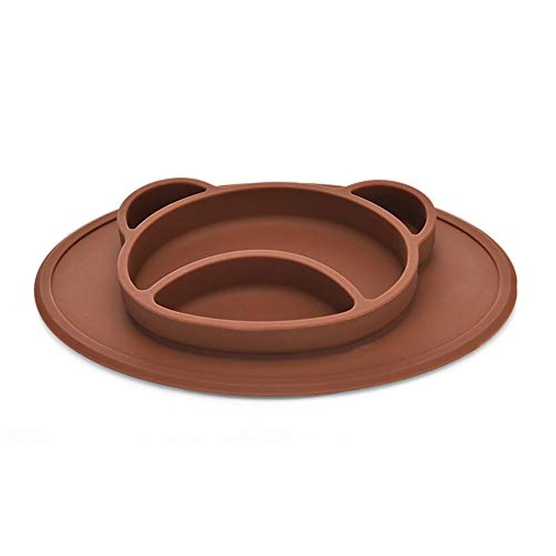 子供、子供、幼児、赤ちゃんのための丸いシリコンサクションプレースメットプレートとボウルを内蔵したハイチェアトレーまたはキッチンダイニングテーブル(セット2) (Color : Brown)
