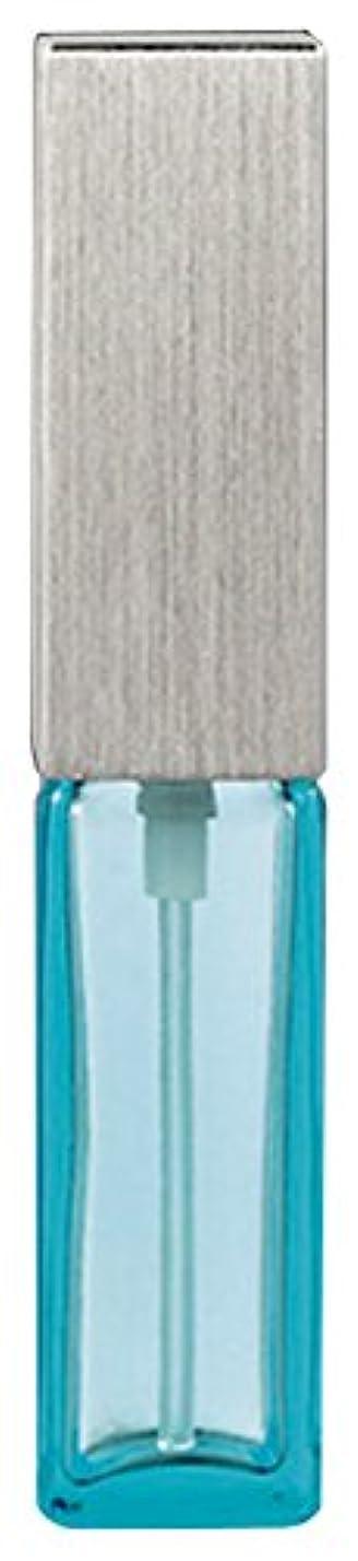 鋭く雰囲気きらめき15493 メンズアトマイザー角ビン ブルー キャップ ヘアラインシルバー