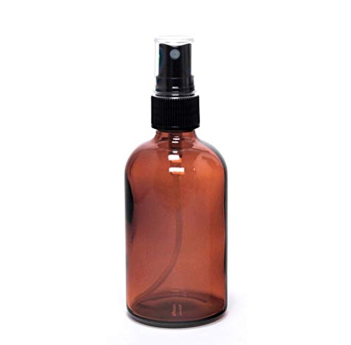 型モザイクホテル遮光瓶 蓄圧式ミストのスプレーボトル 100ml / アンバー( 硝子製?アトマイザー )ブラックヘッド × 1本 / アロマスプレー用