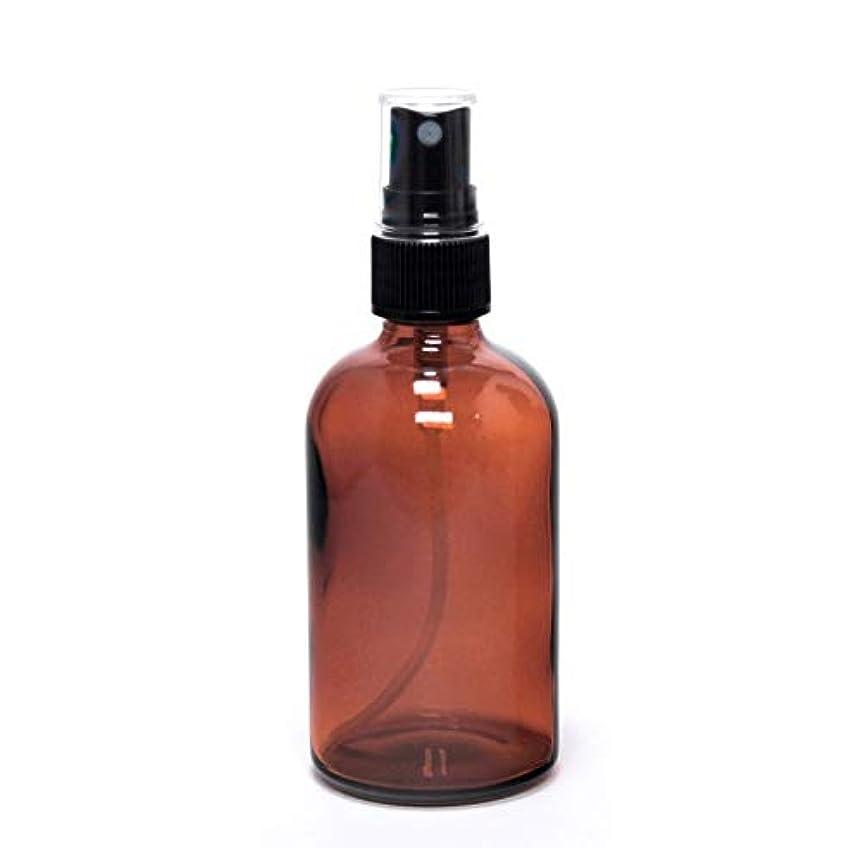 精通した補助金信念遮光瓶 蓄圧式ミストのスプレーボトル 100ml / アンバー( 硝子製?アトマイザー )ブラックヘッド × 1本 / アロマスプレー用