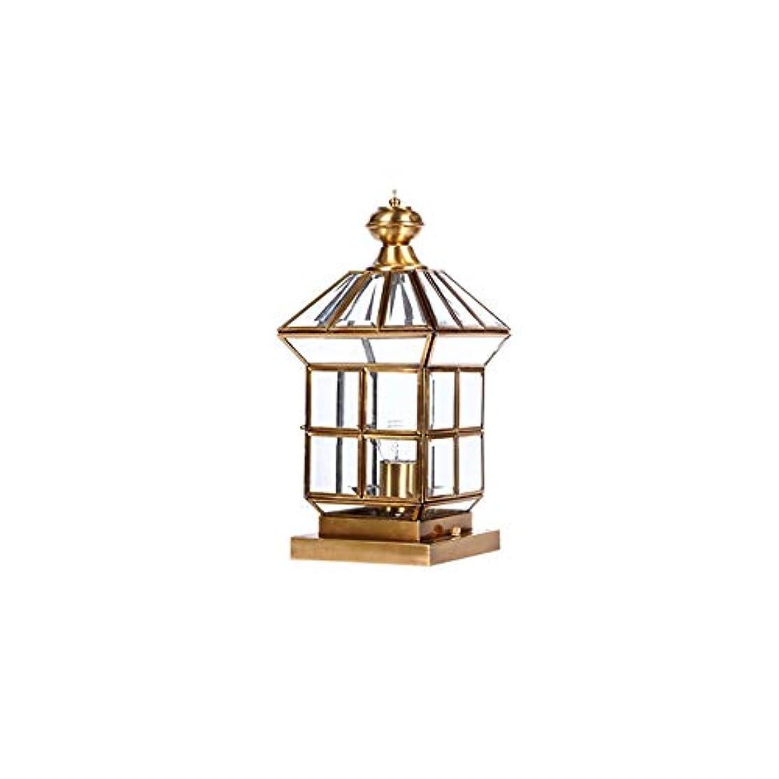 解体する周波数特権的Pinjeer ライト高級ゴールドすべて銅ガラスガーデンコラムランプヨーロッパヴィンテージスクエアip42防水屋外ポストライト中庭ヴィラドアバルコニーストリート装飾ピラーライト