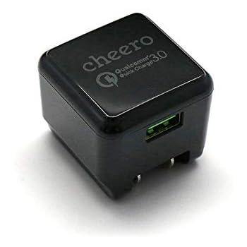 cheero Quick Charge 3.0 USB AC アダプタ 急速充電器 QC3.0対応 iPhone&Android対応 Auto-IC機能搭載 Qualcomm認証 CHE-315-BK