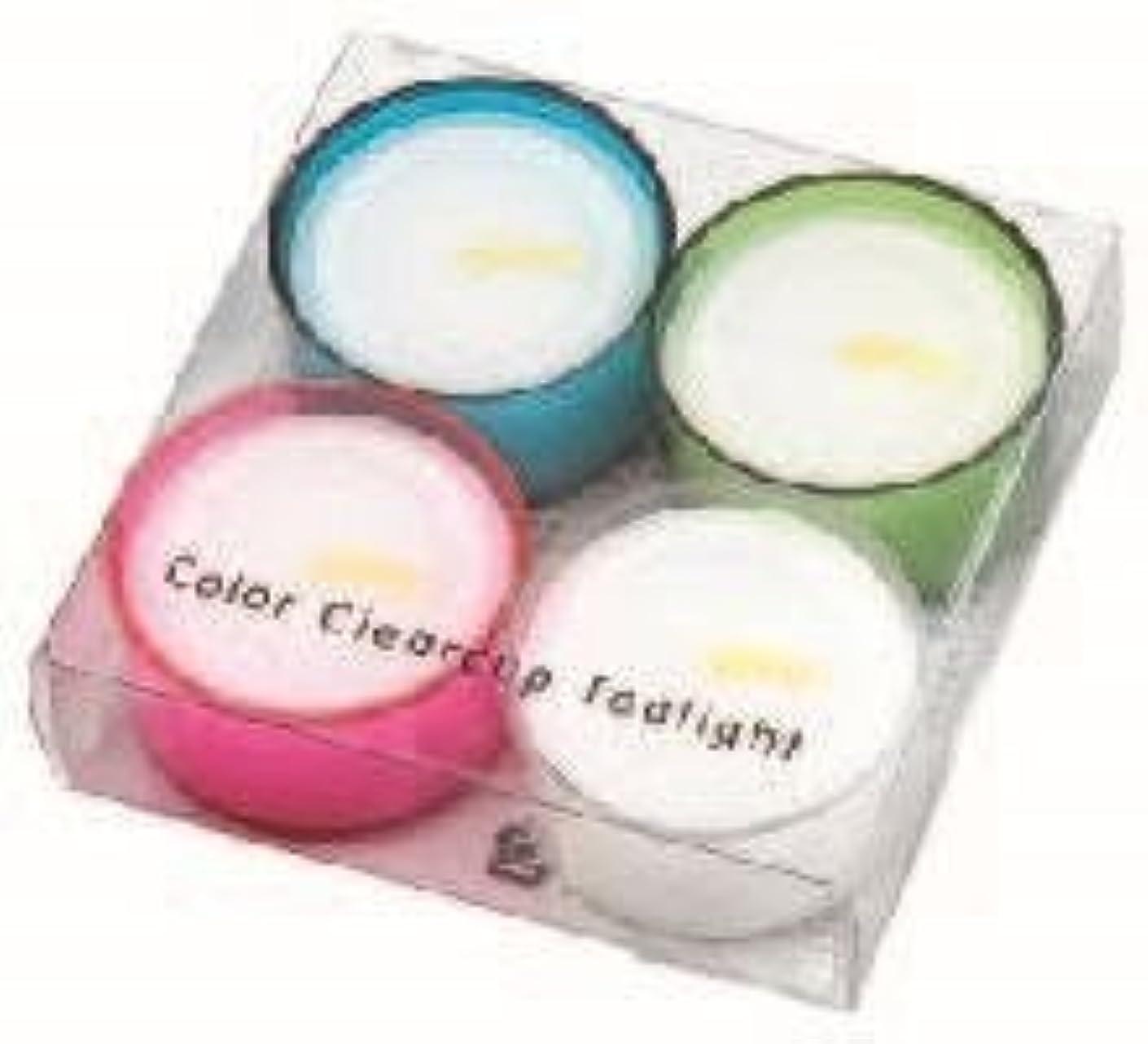 勇敢な雷雨作業カメヤマキャンドル( kameyama candle ) カラークリアカップティーライト4個入り 「 4色アソート 」