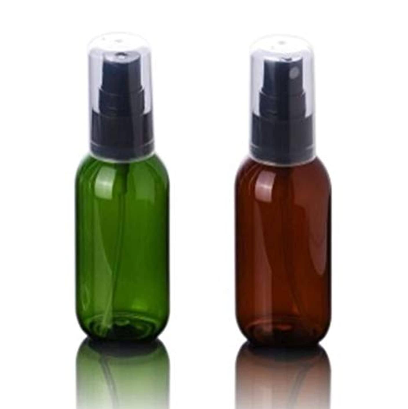 腹痛眼ストライプBijou Cat スプレーボトル 50ml プラスチック製本体 遮光 霧吹き 緑?茶色 2本セット