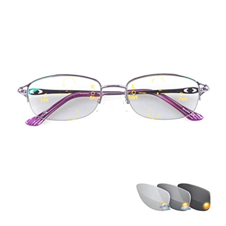 ファッションレディースリーディンググラス、遠近両用インテリジェントプログレッシブマルチフォーカス、屋外色彩変更、Hd樹脂レンズ