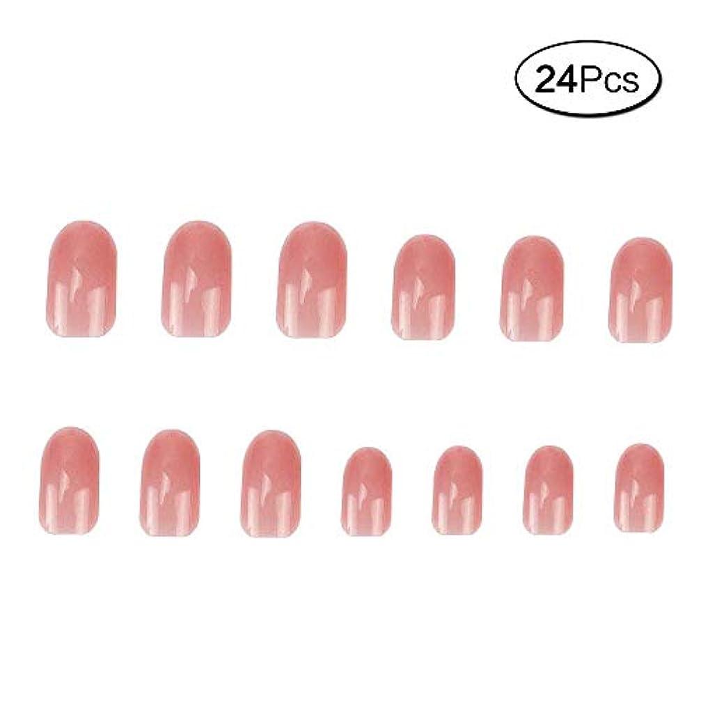タッチステップ過敏な24 個 ネイルチップ 夏の 無地 透明 ゼリー ピンク 可愛い ウェディング ブライダル