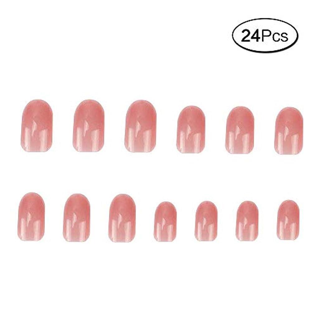 サイレン組俳優24 個 ネイルチップ 夏の 無地 透明 ゼリー ピンク 可愛い ウェディング ブライダル