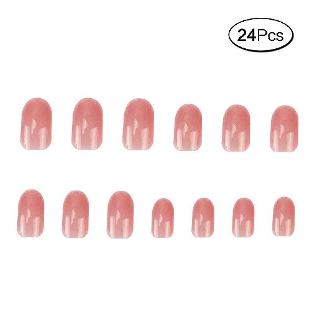 評価する実験的ペルー24 個 ネイルチップ 夏の 無地 透明 ゼリー ピンク 可愛い ウェディング ブライダル