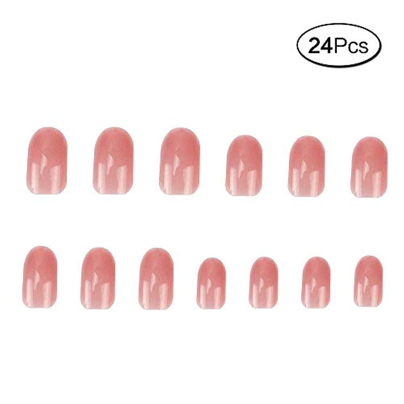 ばかげているナット本24 個 ネイルチップ 夏の 無地 透明 ゼリー ピンク 可愛い ウェディング ブライダル