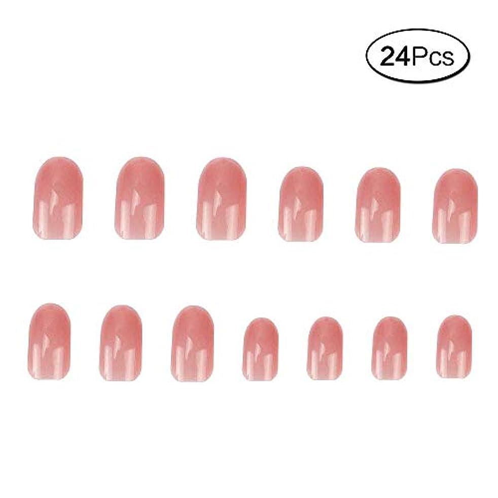 高尚な代理人証人24 個 ネイルチップ 夏の 無地 透明 ゼリー ピンク 可愛い ウェディング ブライダル