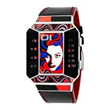 腕時計 01TheOne Unisex SC113R1 Split Screen Art Edition Red LED Black Leather Watch【並行輸入品】