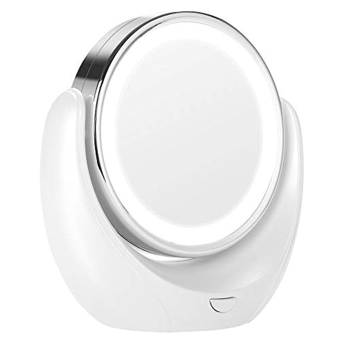 充電より平らな無視できるLED HD 5X拡大鏡360度回転可能なダブルミラー化粧化粧鏡